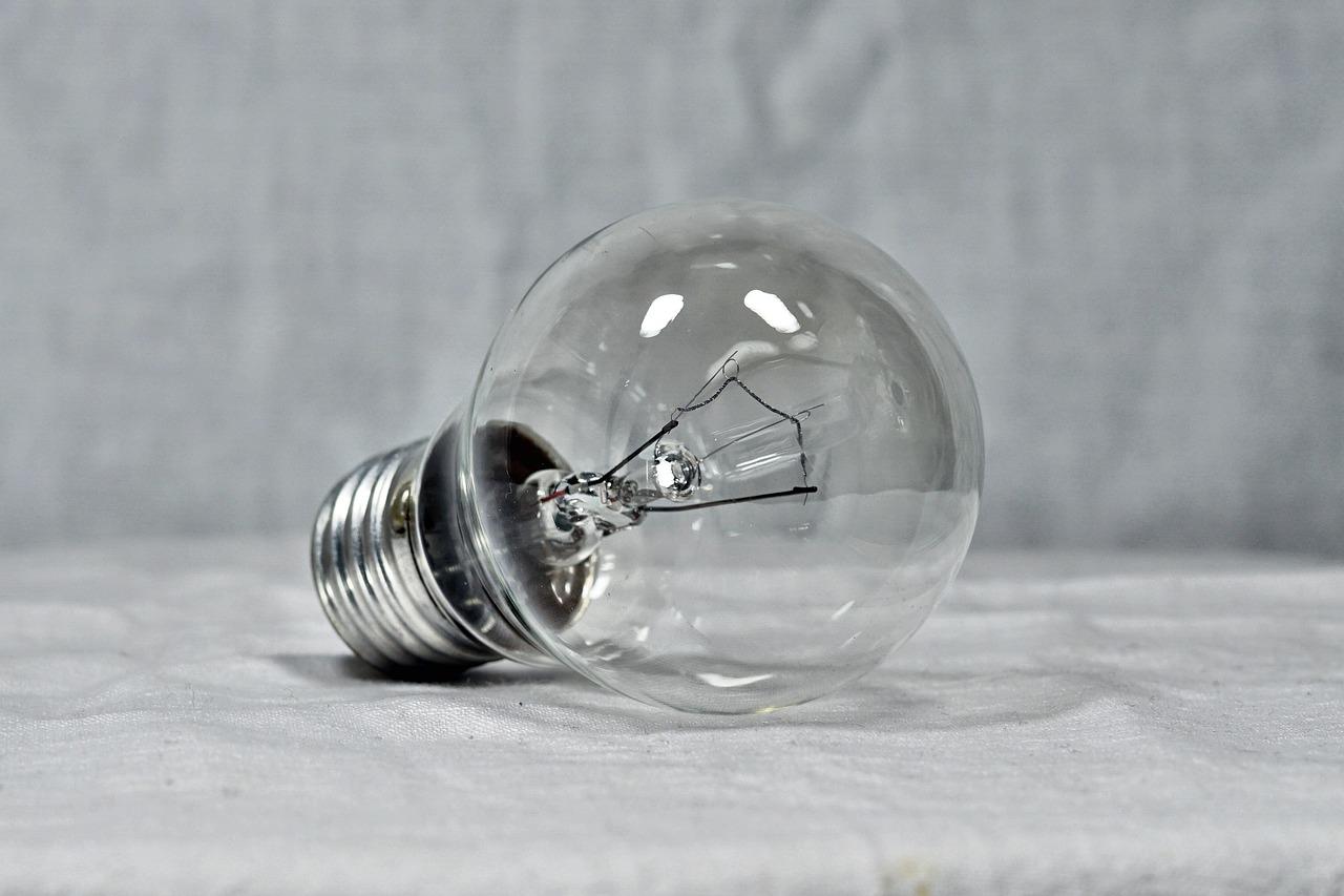 Light bulb resting on its side.