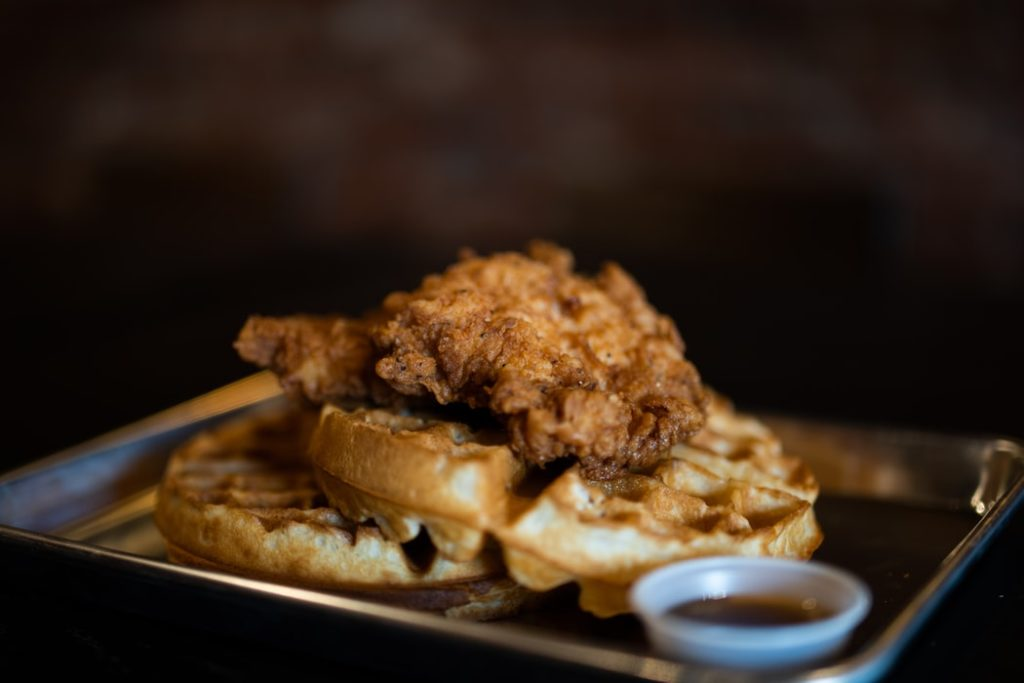 Chicken and waffles comfort foods.