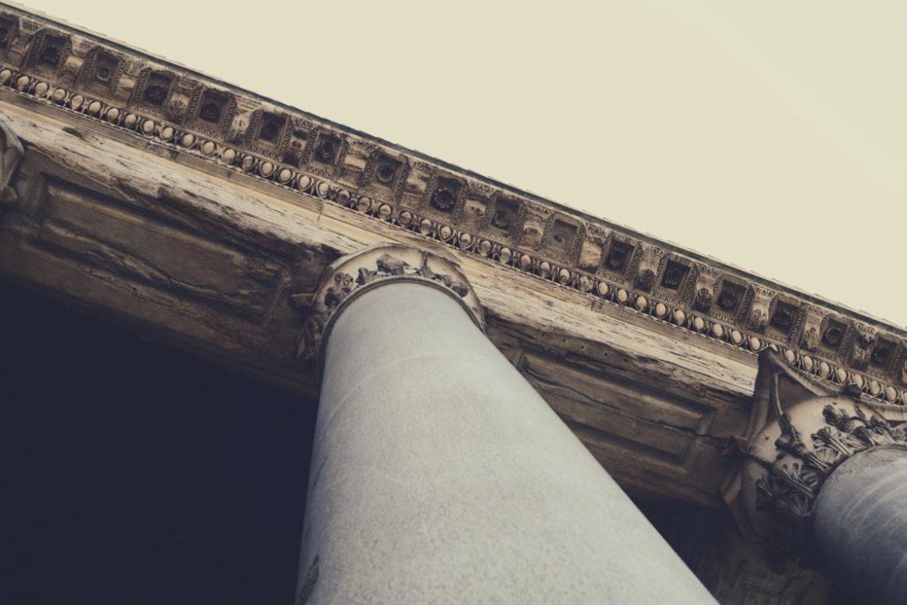 A large pillar at a museum.