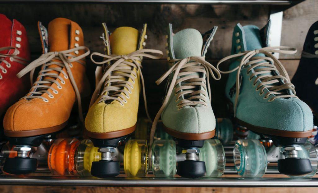 Multicolored roller skates.